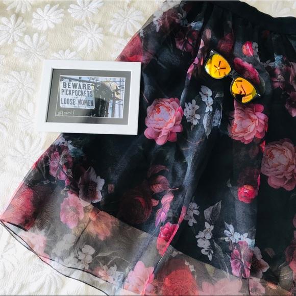 Baraka Ziggy Skirts Italian Boutique Classy Black Floral Full Skirt Poshmark